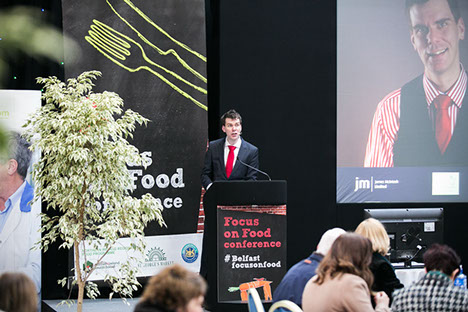 James speaking at Focus on Food conference, Belfast 2015.